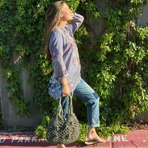 Monserat De Lucca Olive Green Macrame Boho Bag